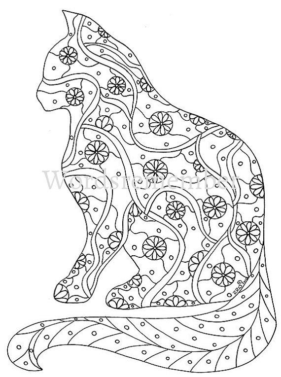 Cat Coloring Page Pages Adult By Wordsremember