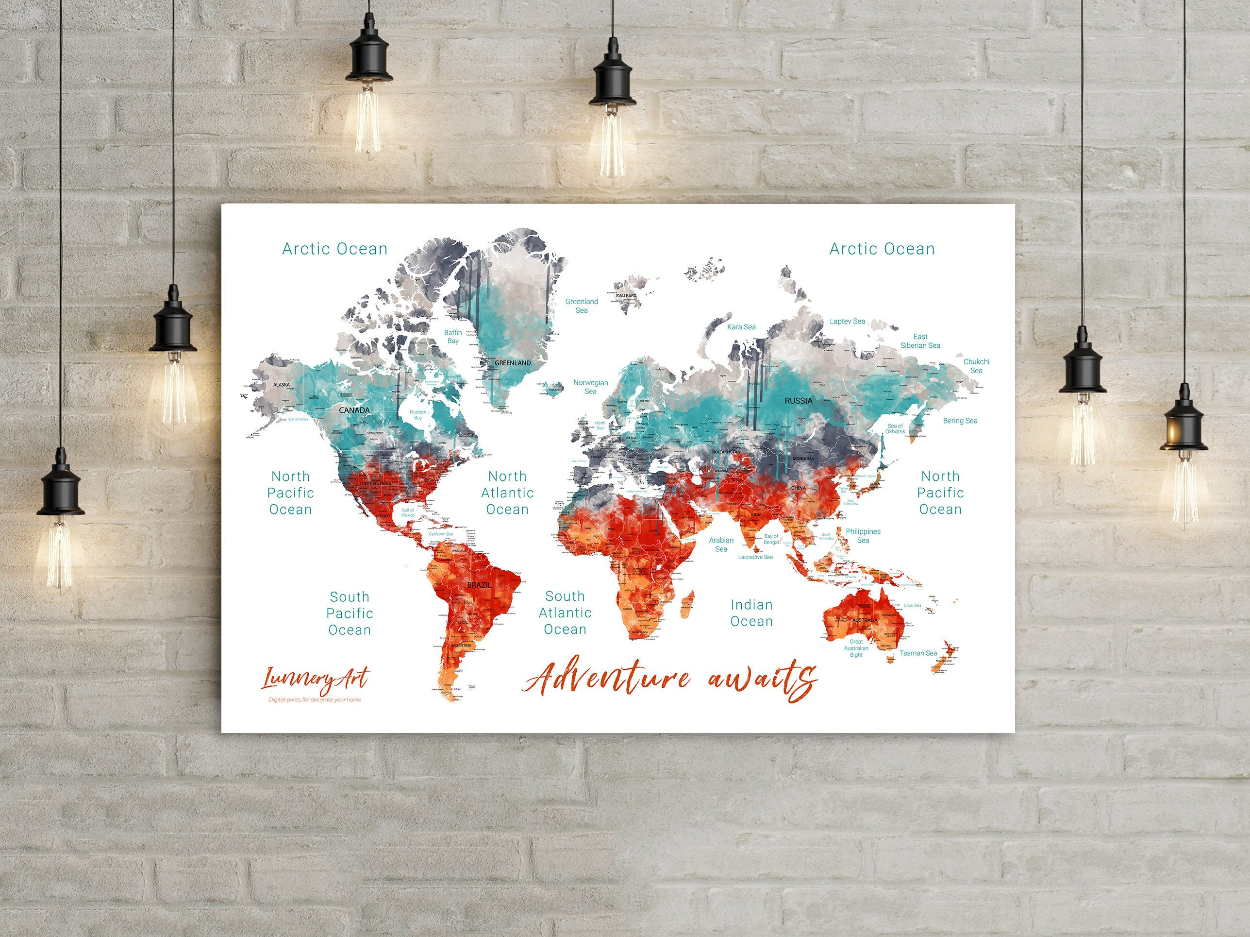 World map printable custom map digital files printable world map world map printable custom map digital files printable world map file for printing a push pin map watercolor map large wall art gumiabroncs Gallery