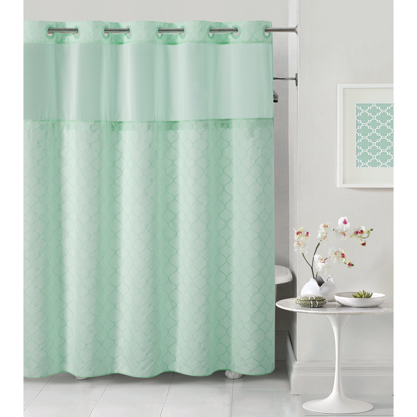 Hookless Mosaic Shower Curtain With Snap On Liner Hookless