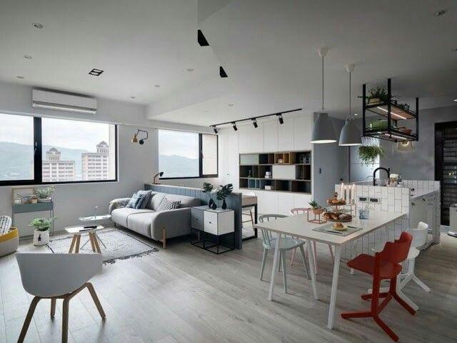 offene küche wohnzimmer abtrennen vorhang holztisch geüner stuhl - offene kuche wohnzimmer abtrennen
