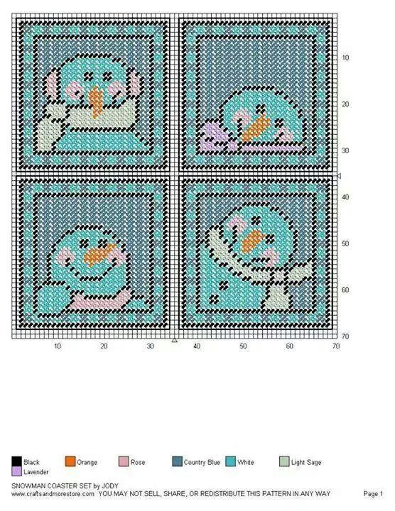 Plastic Canvas Christmas Coaster Patterns.Snowman Coaster Set 3 3 Sandy S Crafts Plastic Canvas