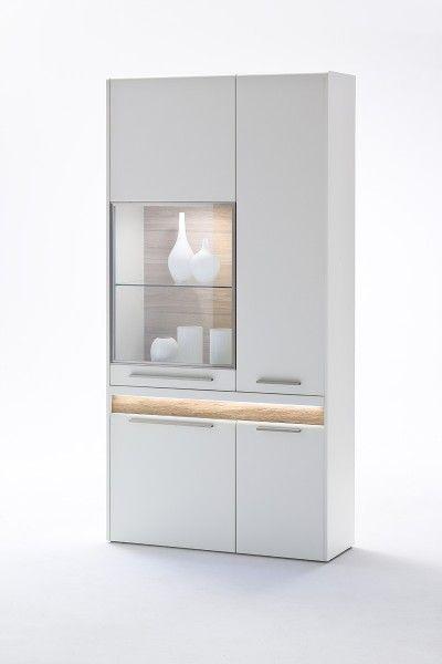 Weiße Vitrine Velvet III inklusive LED #weiß #möbel #wohnzimmer - wohnzimmer vitrine weis hochglanz