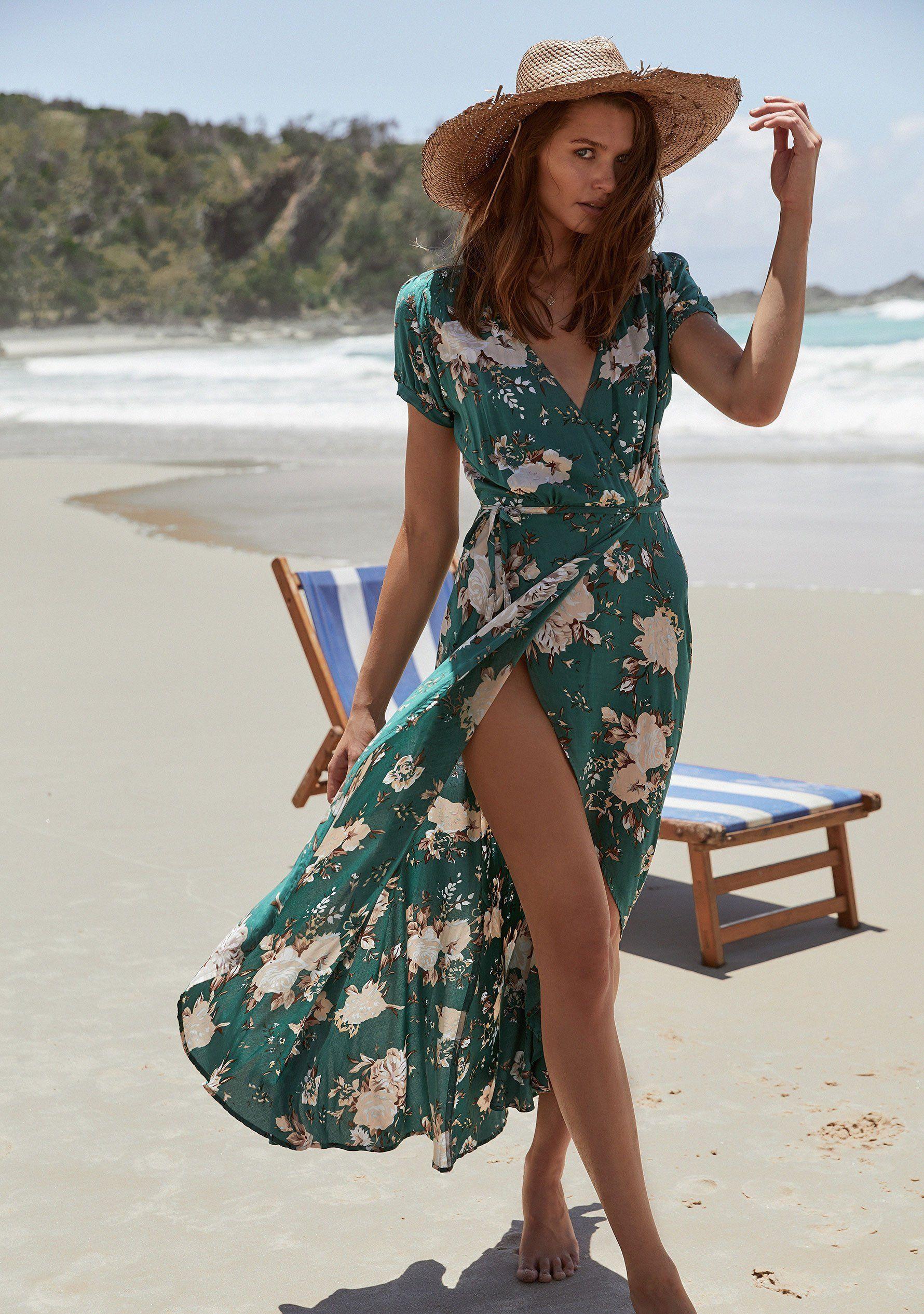00393a4a43b8c Abigail Wrap Maxi Dress Vintage Blooms Emerald | Auguste The Label ...
