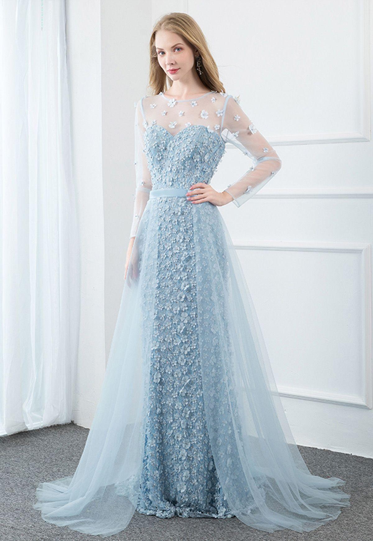 Blue Tulle Flower Long Mermaid Dress Blue Formal Dress With Applique Long Mermaid Dress Light Blue Prom Dress Mermaid Dress [ 1740 x 1200 Pixel ]