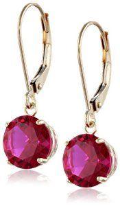 10k Gold Round Gemstone Dangle Earrings #earrings #Jewelry