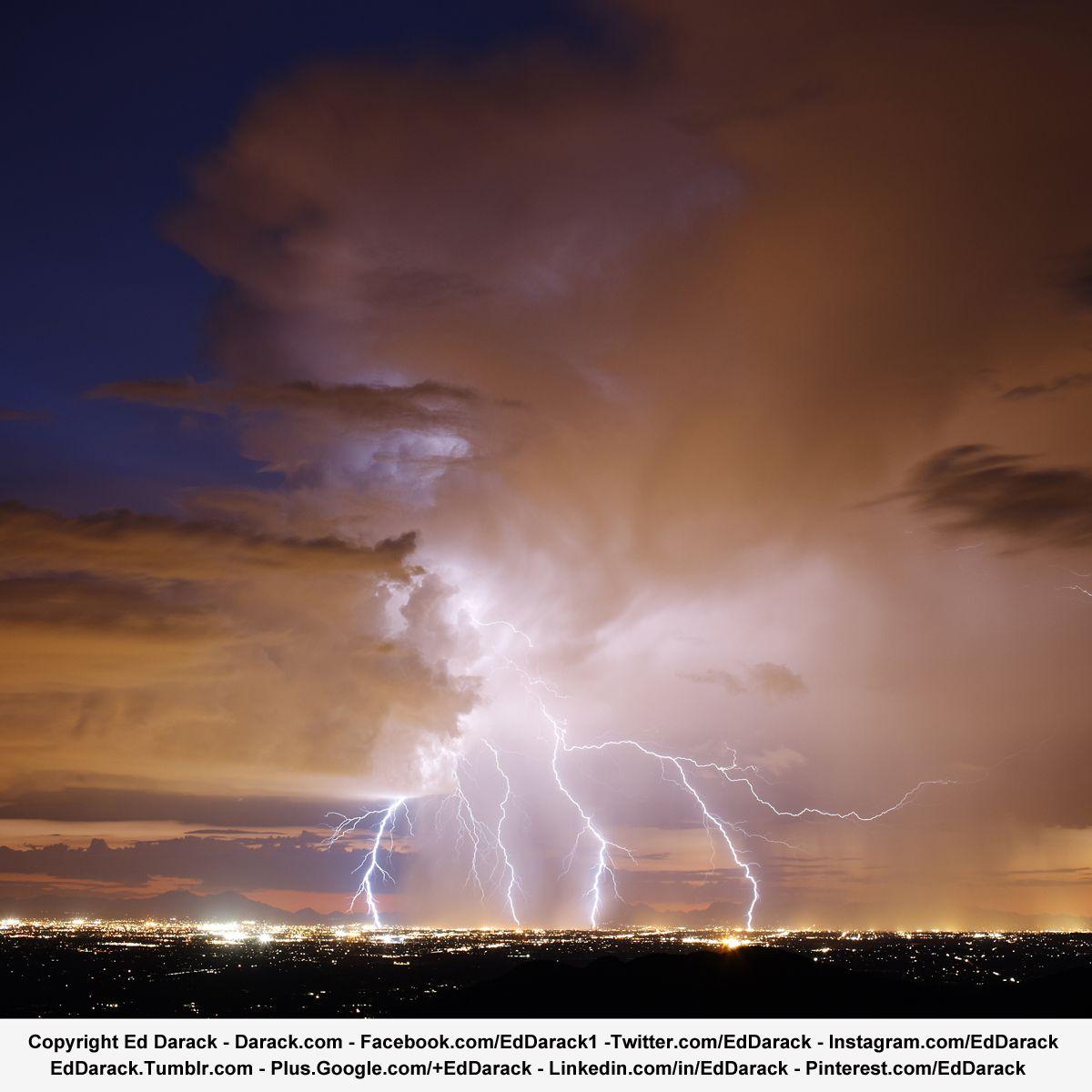 Lightning Storm Over Tucson, Arizona at Dusk. Weather Photography. Meteorology. Lightning Bolts. Copyright Ed Darack