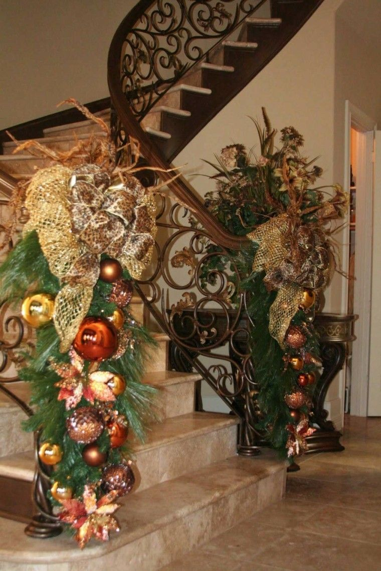 Escalera elegante ideas navidad pinterest escalera for Decoraciones para gradas