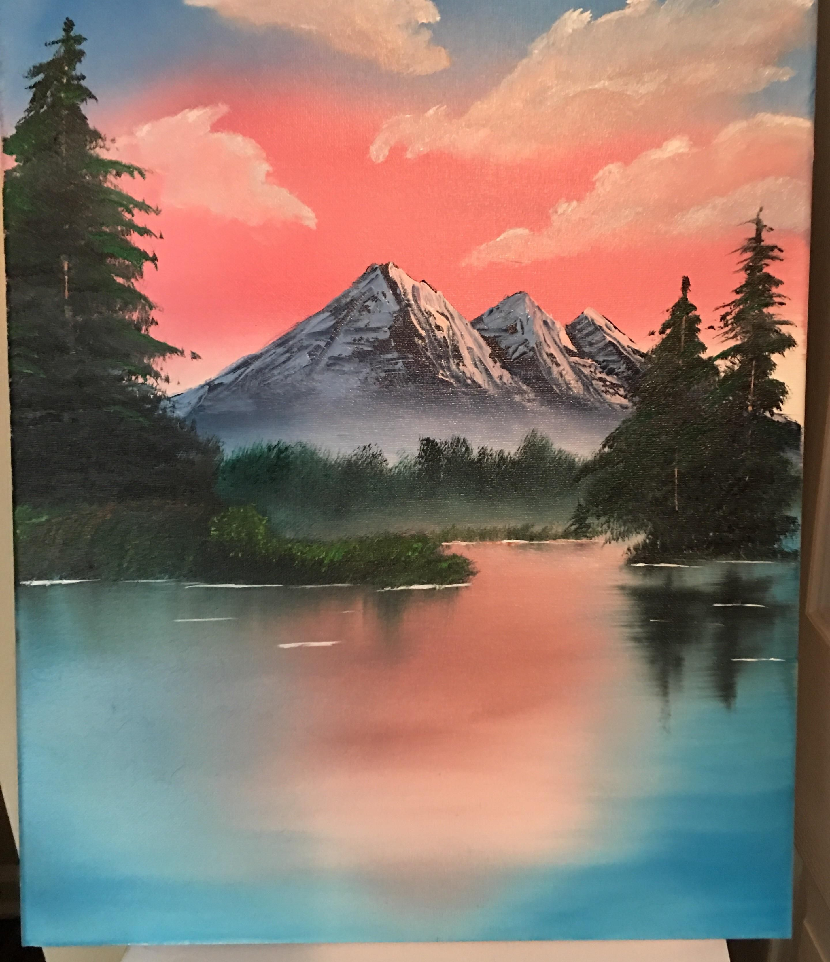 Was Inspired By This Sub To Attempt My 1st Bob Ross Painting Easy Landscape Paintings Landscape Paintings Bob Ross Paintings