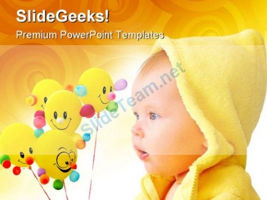 Cute Child With Balloons Baby Powerpoint Templates And Powerpoint