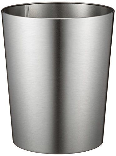 iDesign Patton Round Metal Trash Can Waste Basket Garbage Can for Bathroom Bedroom Home