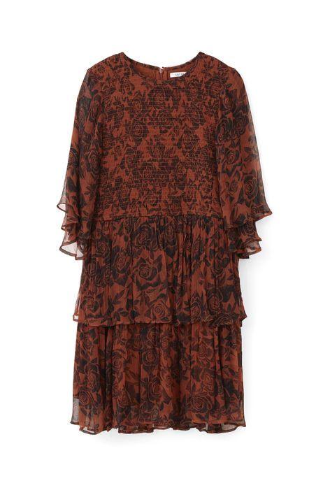 781311e5 Beaumont Chiffon Dress, Brandy Brown | GANNI On Sunny Beaches | Pre ...