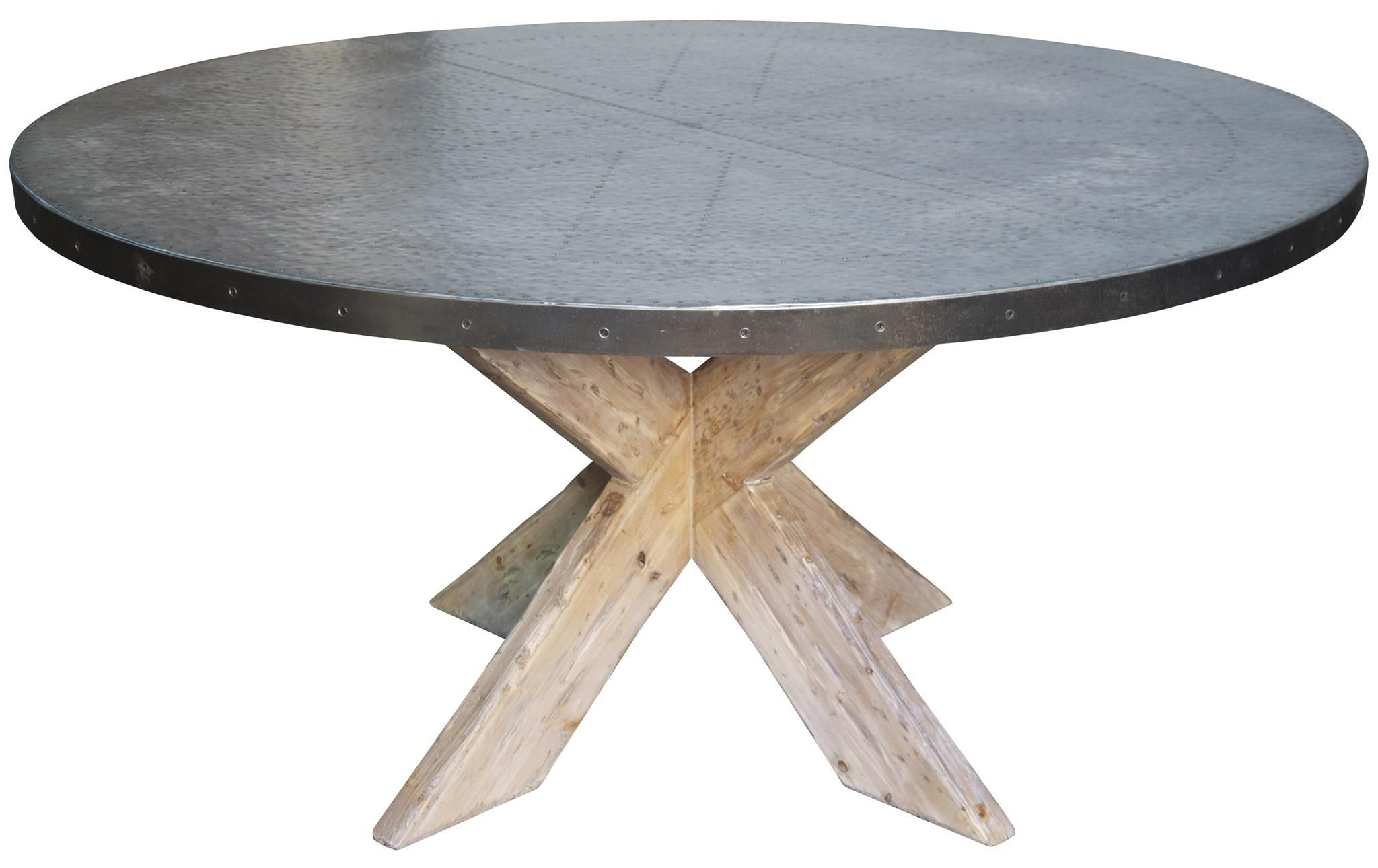 zinc dining room table. Custom Made Hayward Zinc Top Round Dining Table With X Base Room A