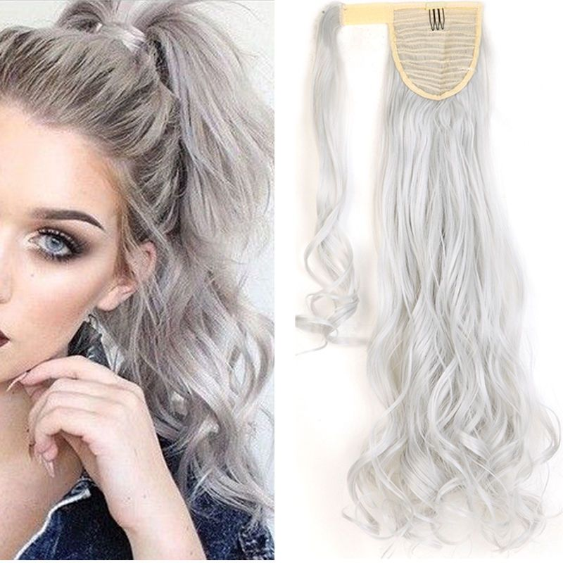 New color Silver Gray warp around ponytail clip in hair extensions curly UK  post in Clothes 7e523582b