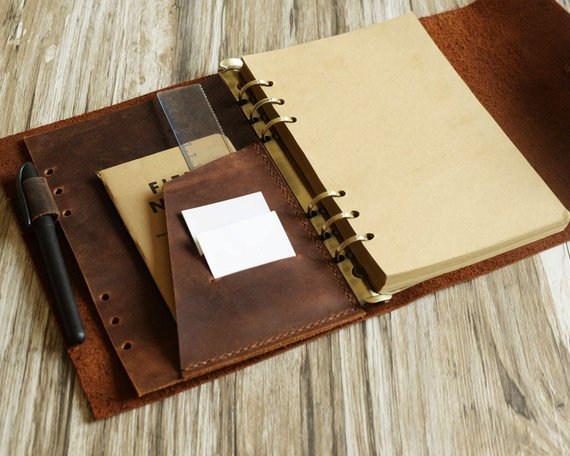 32d3e26e6bd1 Personalized Size A5 Leather Refillable Planner Binder, travelers ...