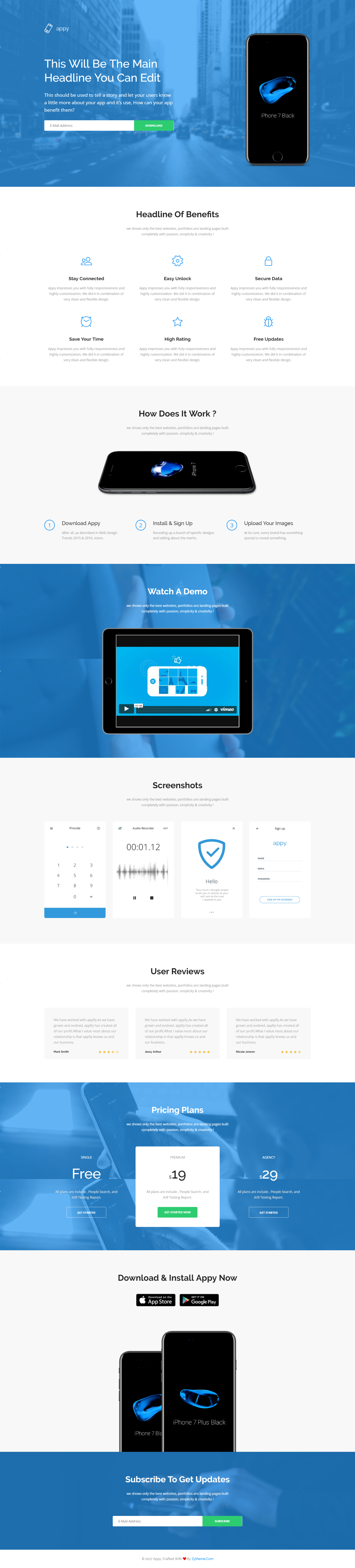 Appy App Landing Page Html Template By Zytheme On Envato Elements Landing Page Html Landing Page Html Templates
