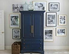 Ex of a smaller hutch that would work in kitchen... clean lines. Easy to paint and restyle