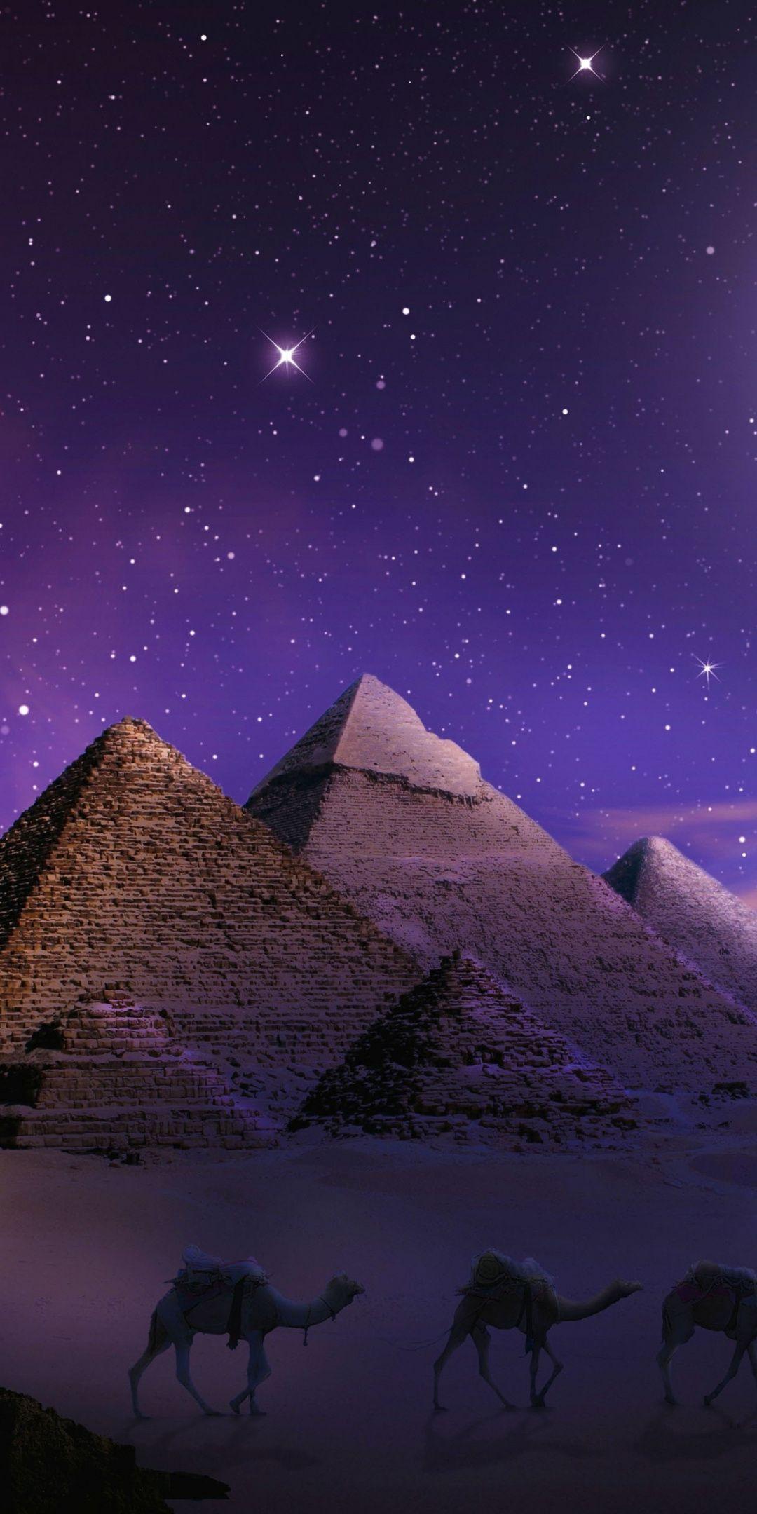 Photoshop Pyramids Egypt Night 1080x2160 Wallpaper Egypt Wallpaper Pyramids Egypt Egypt Art