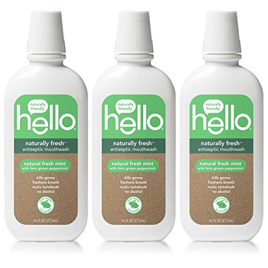 Amazon Com Hello Oral Care Naturally Fresh Antiseptic Fluoride Free Mouthwash Sls Free Fresh Mint With Farm Grown Pe Best Mouthwash Mouthwash Hello Oral Care