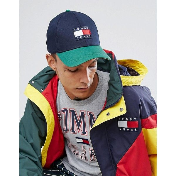4faea79af19 Tommy Jeans 90 s Capsule Colourblock Baseball Cap in Navy Green ( 55) ❤  liked on Polyvore featuring men s fashion