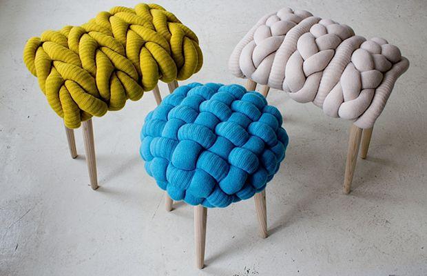 Banquetas Claire - Anne O' Brien - Tendência decoração tricô e crochê;