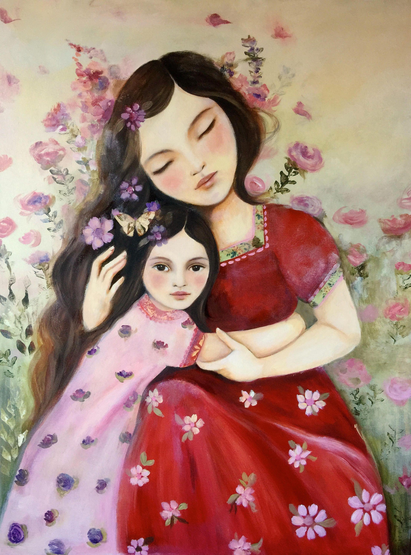 Любовь матери к дочери открытки, урок изо классе