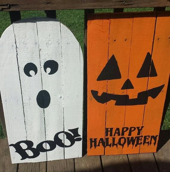 happy halloween jack o lantern boo ghost halloween outdoorporchindoor pallet decoration set approximately in recycled wood acrylic paint polyurethane