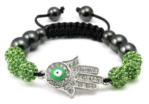 Green Hamsa Hand Bracelet