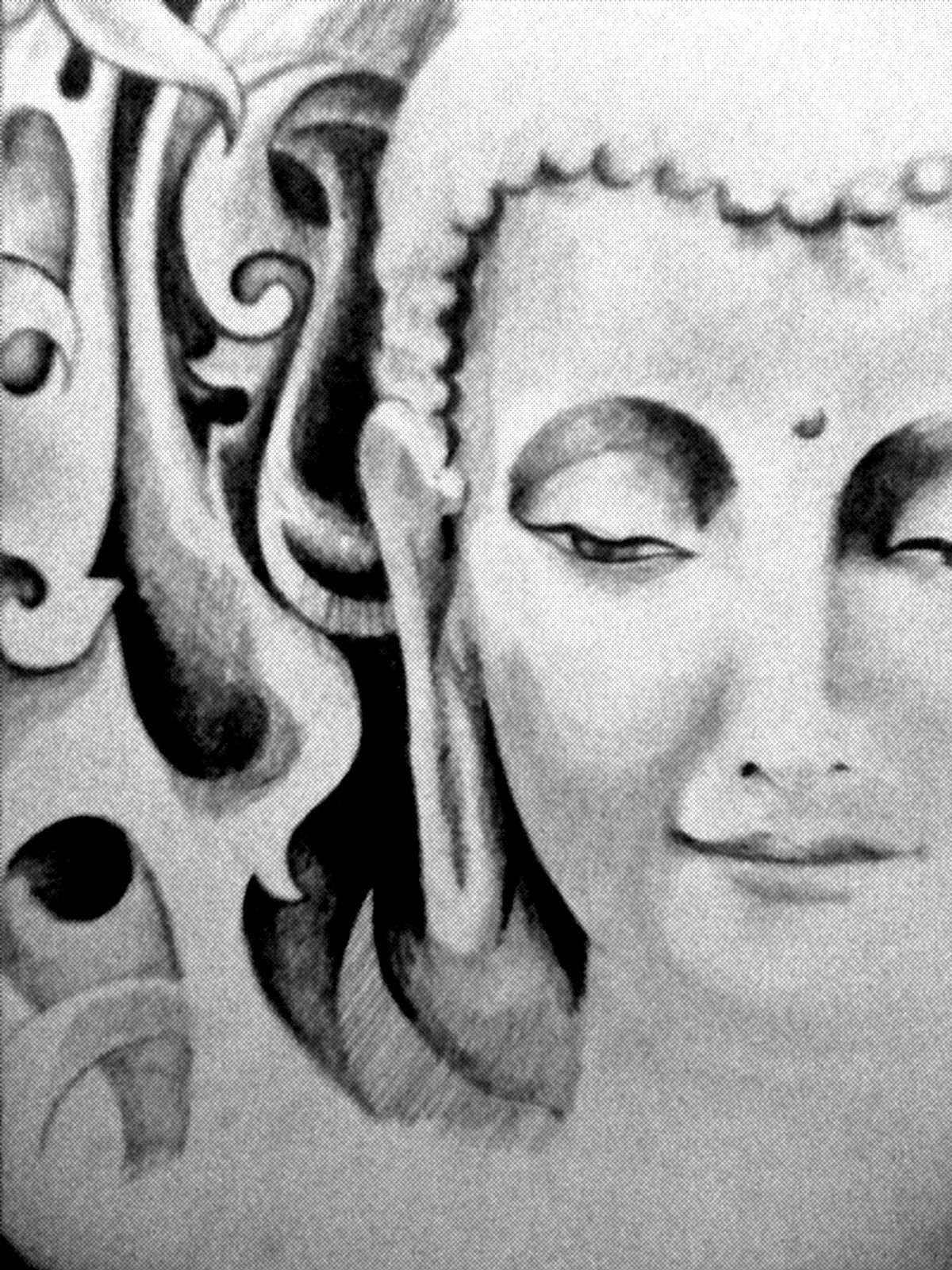 Pencil sketching on lord buddha
