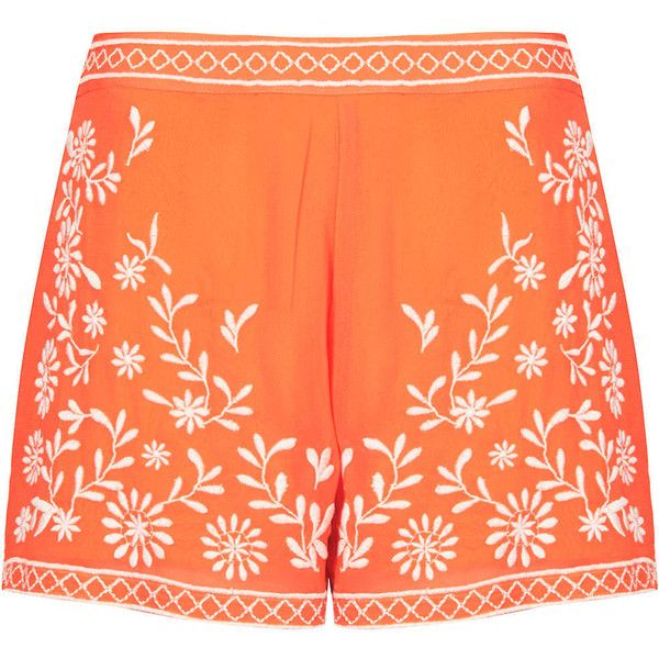 TOPSHOP Trailing Flower Shorts (£10) ❤ liked on Polyvore