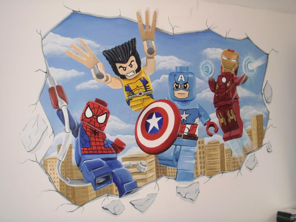 Lego Marvel Superhero Wall Mural By Wwwcustommuralscouk - Lego superhero wall decals