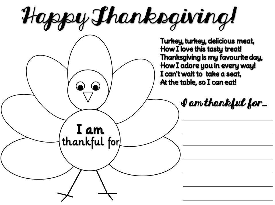 Enjoy Teaching English THANKSGIVING (clipart + poem