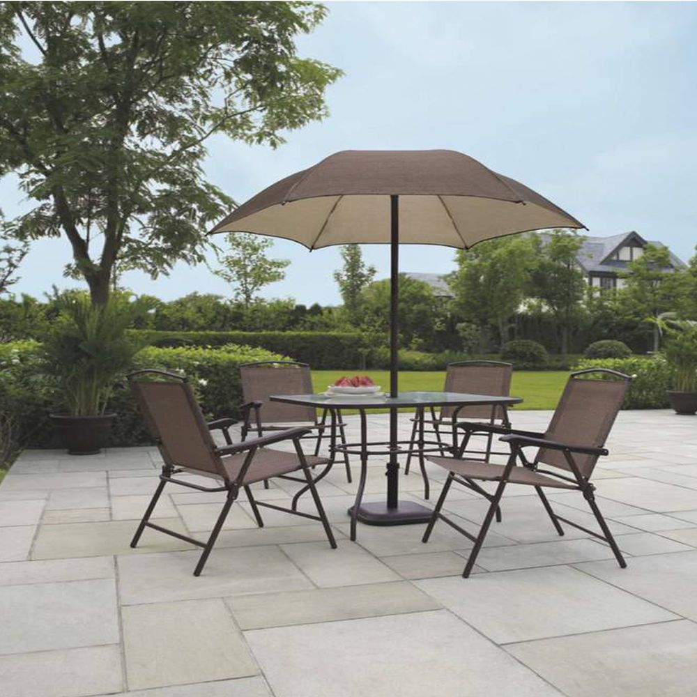 Patio Dining Set W Umbrella Outdoor Seating Folding Rust Scratch Weather Proof