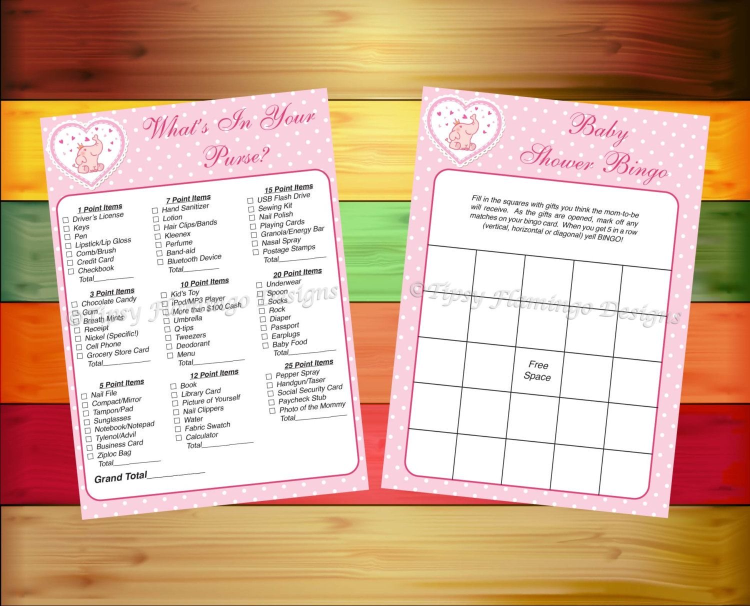 Baby Shower Games What 39 S In Your Purse Bingo Two Pack Shower Games Baby Party Supplies Pink Prin Baby Shower Games Shower Games Whats In Your Purse