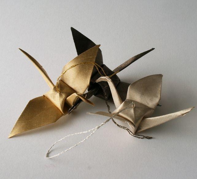 3+Golden+Cranes+-+Gold,+Black++Silver+Metallic+Silk+Origami+