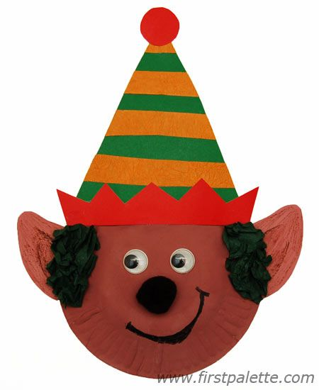 Paper Plate Christmas Elf with Striped Hat