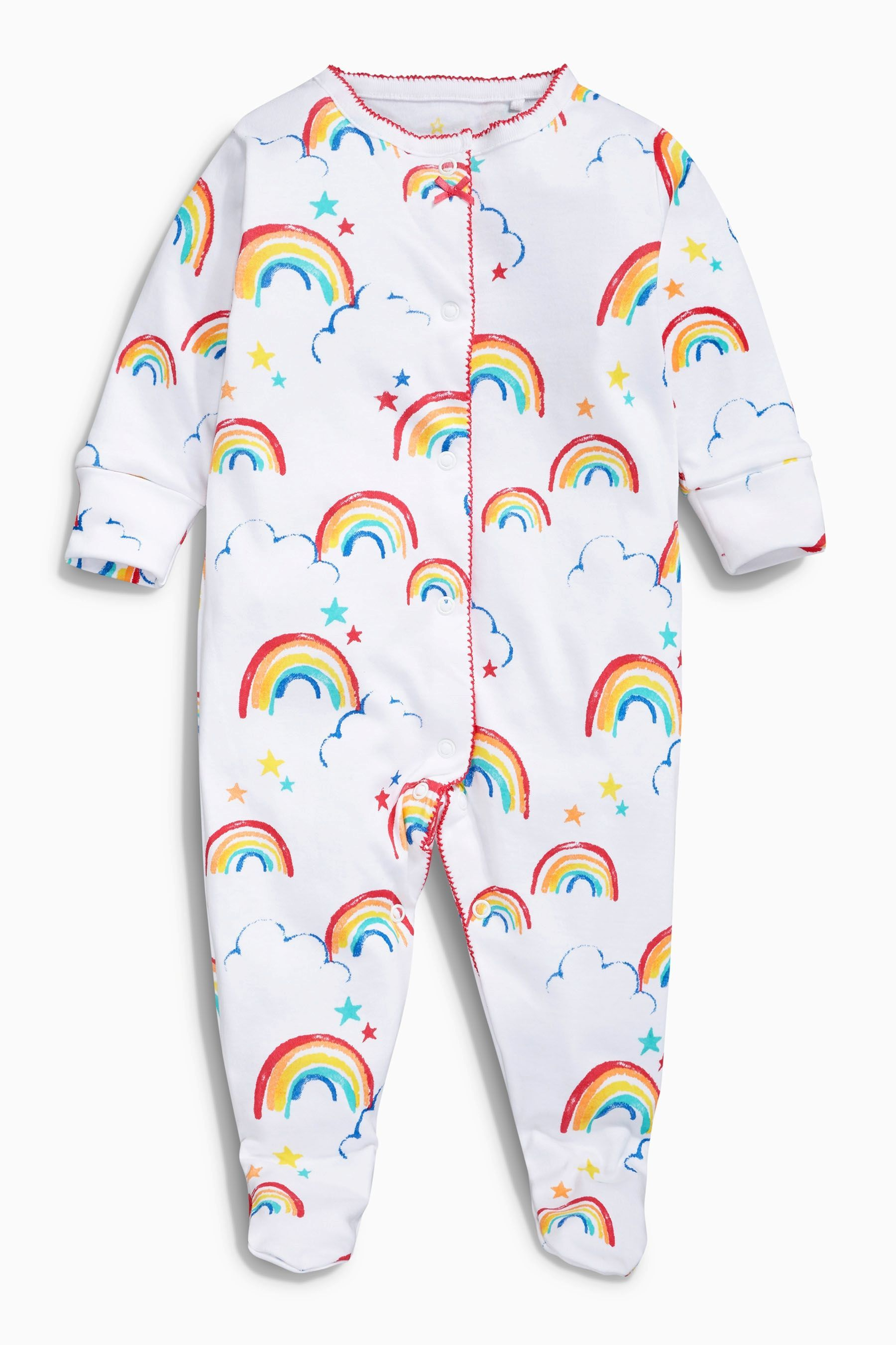 b2a205c733 Buy White Rainbow Sleepsuits Three Pack (0mths-2yrs) online today at Next   Japan