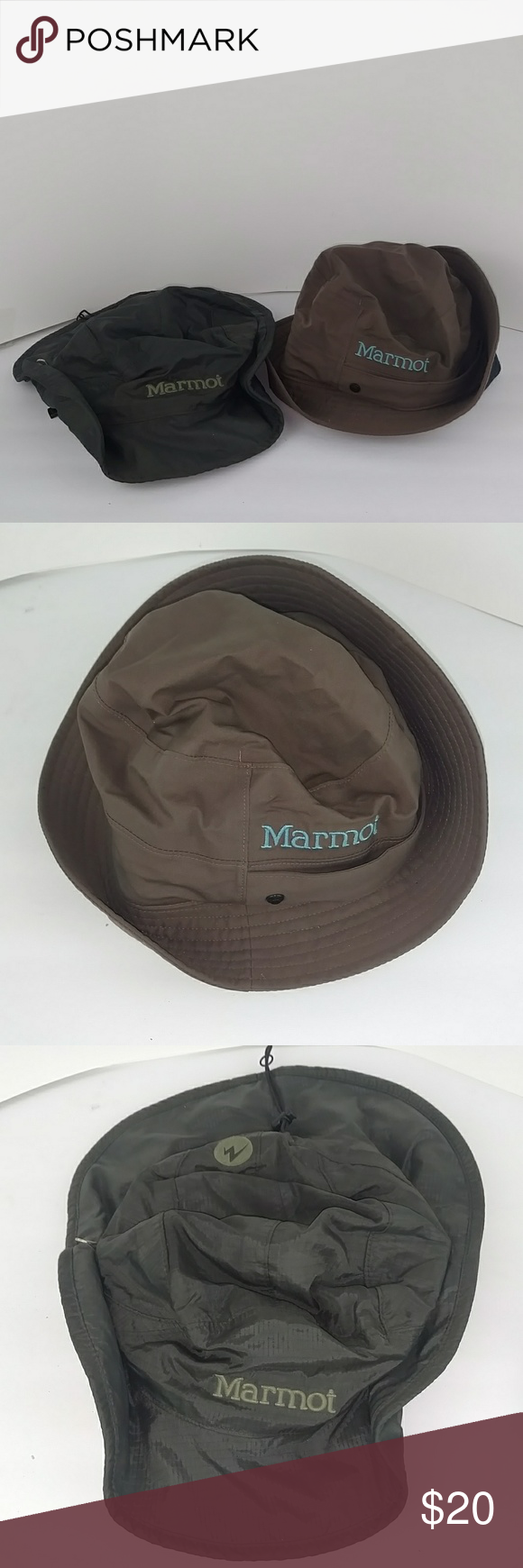 Two Marmot Bucket Style Hats Two Marmot Bucket Style Outdoors Hats 1st   Darker Green Color With Magnet Fittings Size M 2nd  Brown With Blue Logo  Size Sm M ... 76c7901c823