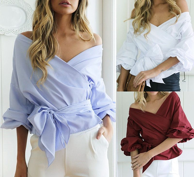 Women Sexy Off Shoulder White Blouse Casual Loose V Neck Strapless Bow Bowknot Bandage Cross Front Wrap Blouse Top Back To Search Resultswomen's Clothing
