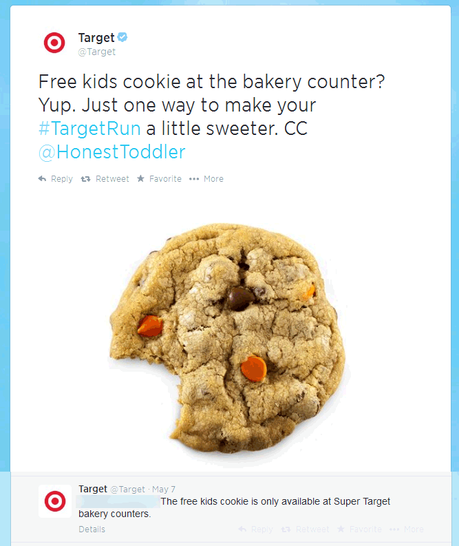 Pinned June 20th Free cookie for kids at the Super Target bakery
