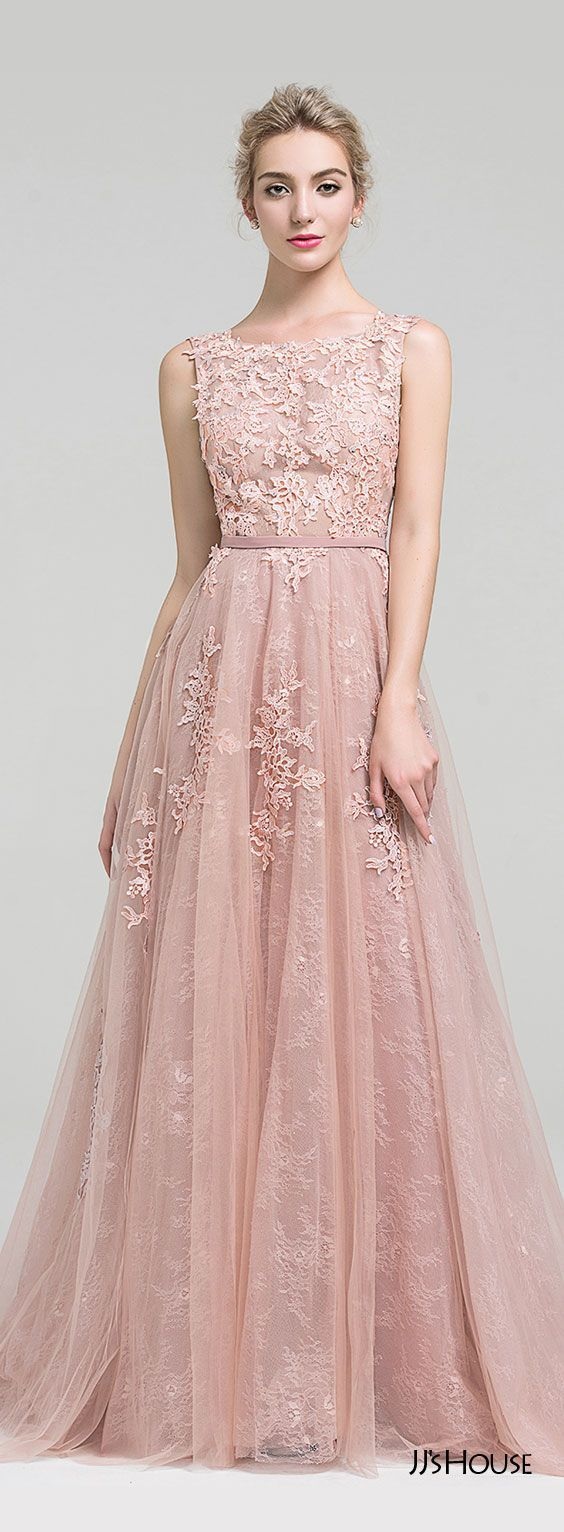 A-Line/Princess Scoop Neck Court Train Tulle Lace Evening Dress With ...