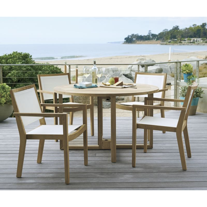 Regatta Round Drop Leaf Table Crate And Barrel Outdoor Dining Chairs Clearance Patio Furniture Outdoor Accent Table