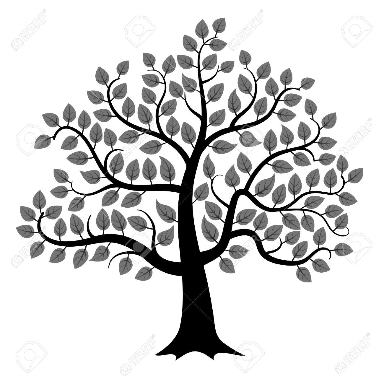 Black Tree Silhouette Isolated On White Background Vector Illustration Royalty Free Cliparts Vectors And Stock Illus Tree Of Life Art Vector Trees Tree Icon