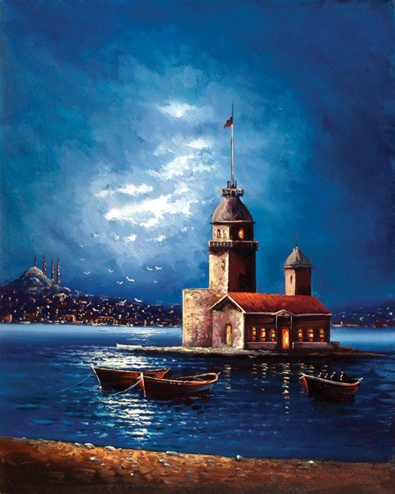 Kiz Kulesi Gece Tablo Kkt039 Tablolar City Art Resim Sanati