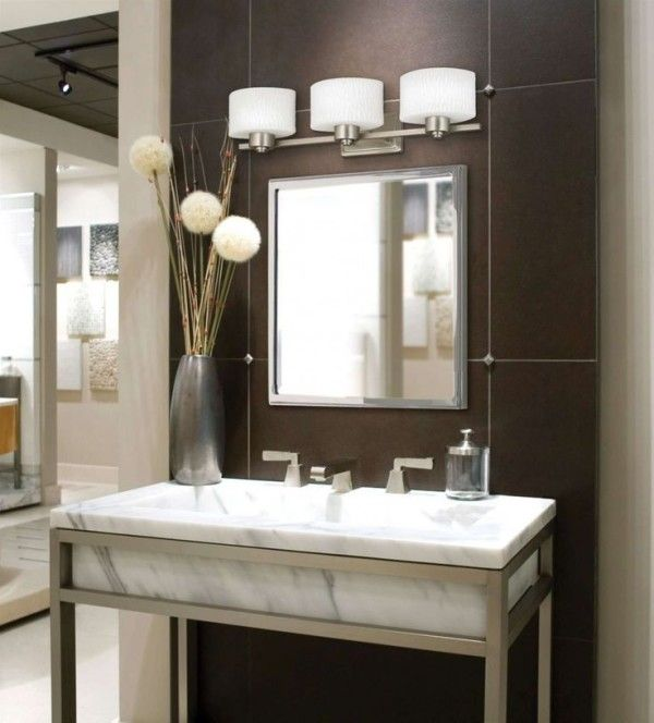 Small Bathroom Vanity Ideas Using Rectangular Marble Vessel Sink With  Stainless Steel Frame Also Double Handle
