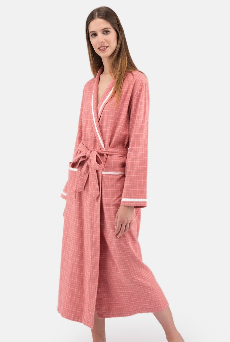 Ladies Long Cotton Flannel Dressing Gown , Dressing Gowns and Robes ...