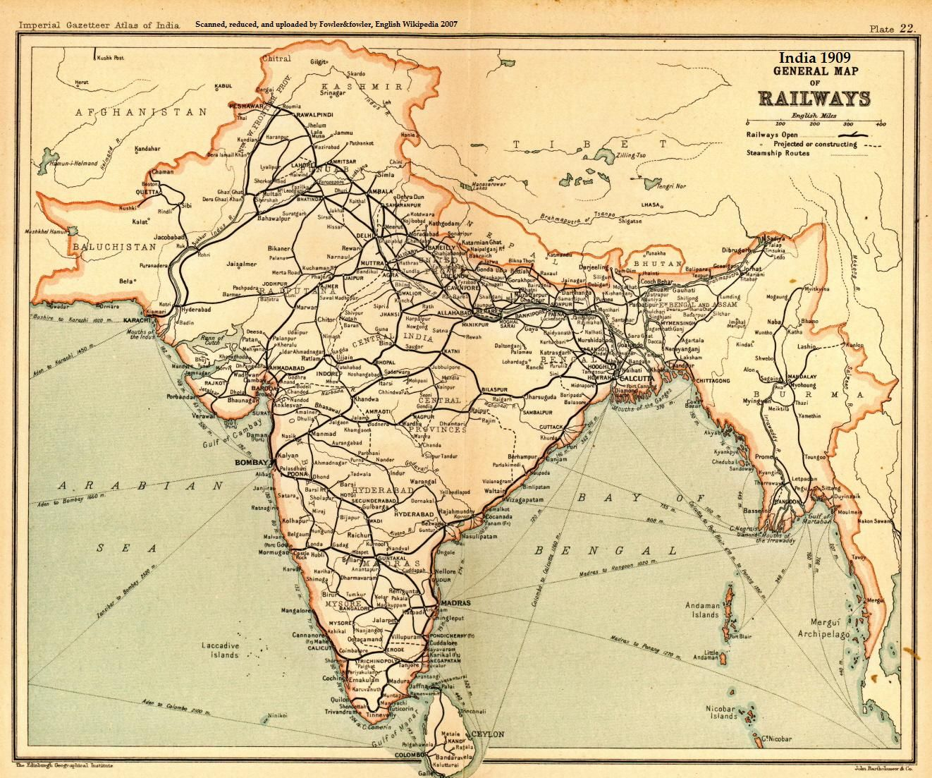 Old Map Of India Extent of the Indian Railway network in 1909 [1322x1103] | Maps