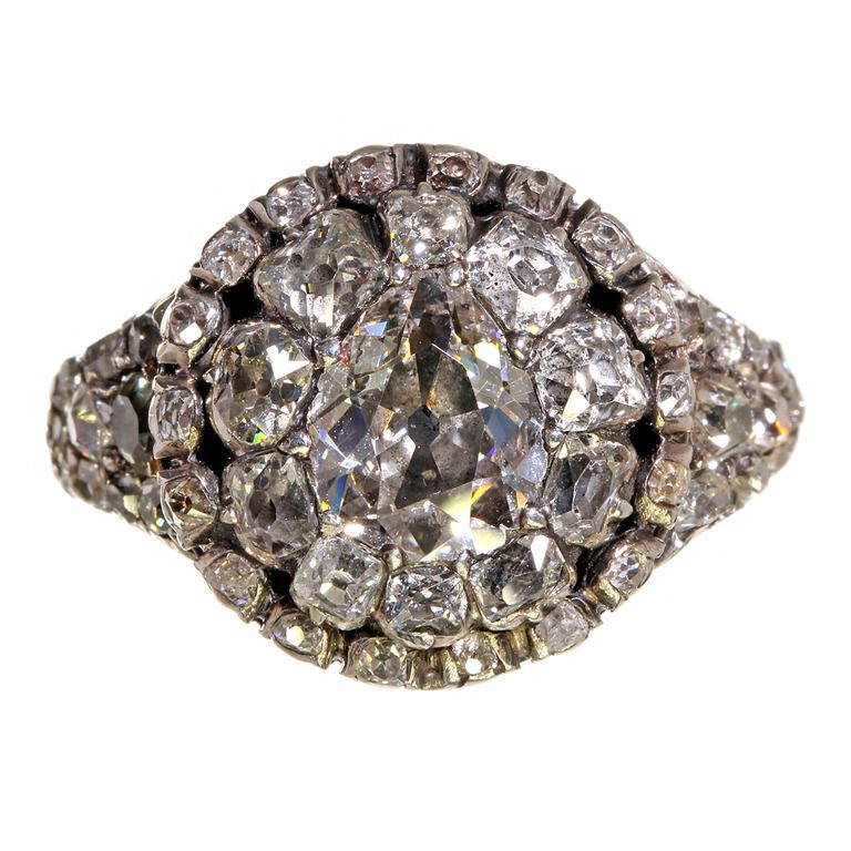 18th Century Georgian Era Mine Cut Diamond Cluster Ring | From a unique collection of vintage cluster rings at http://www.1stdibs.com/jewelry/rings/cluster-rings/