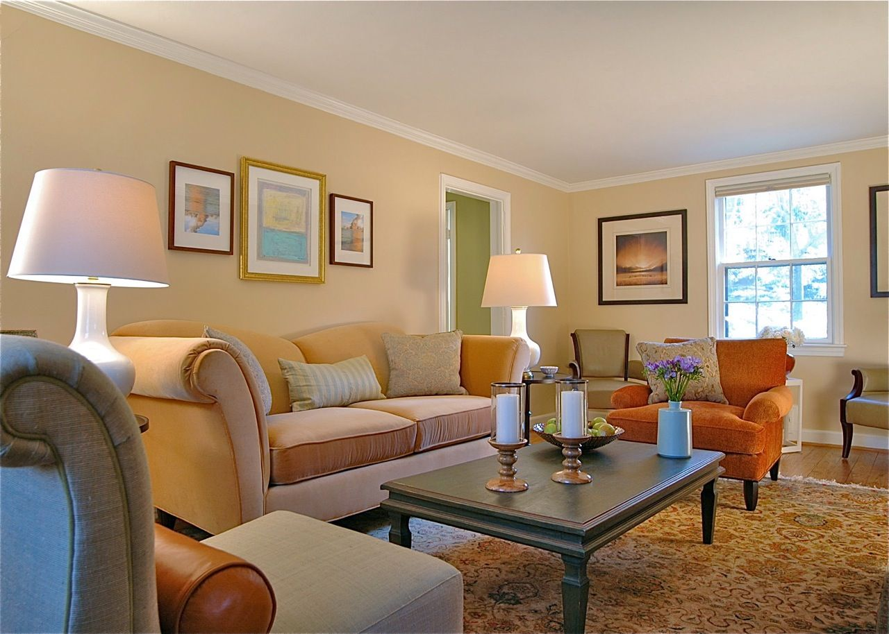 Cozy Living Room With Light Orange Tone Painted Walls And Persimmon Upholstery Seating