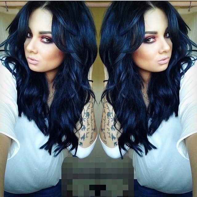 Coloration cheveux noir bleute