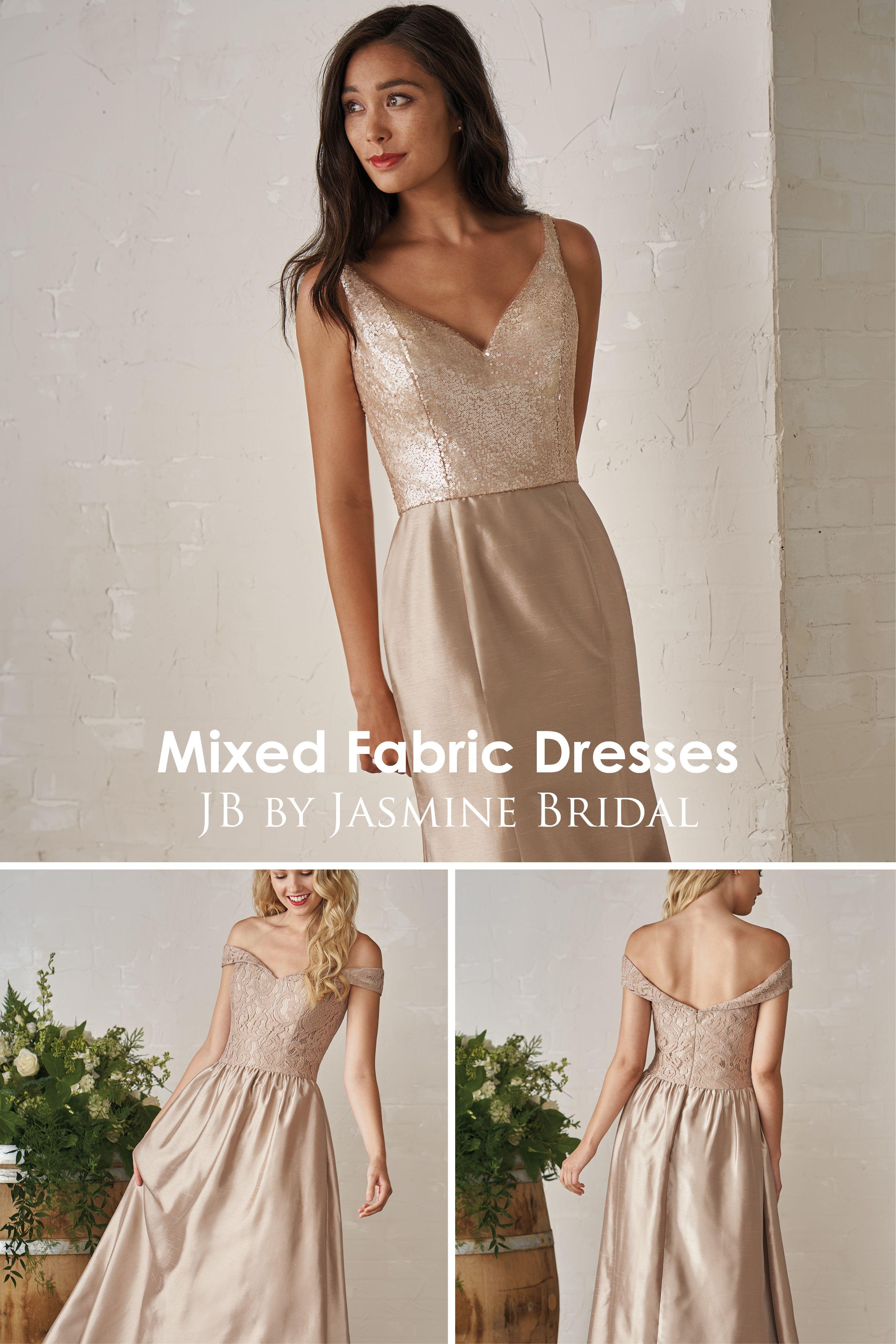 Jasmine wedding dresses  Jasmine Bridal  JB Mixed Fabric Bridesmaid Dresses  Sequin